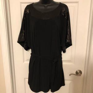Elle Black Sequin Tunic Top